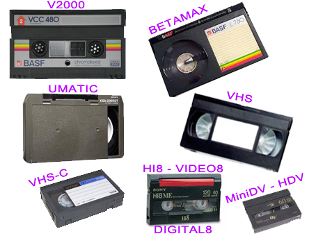 cassette video vhs v2000 betamax umatic hi8 dv